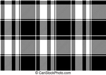 negro, patrón, blanco, tartán, seamless