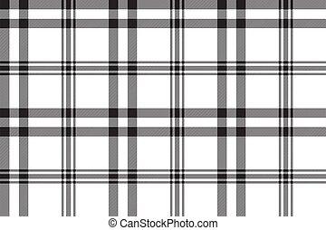 negro, patrón, tartán, blanco, seamless