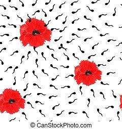 negro, pattern:, ondulado, seamless, fondo., blanco, amapolas, líneas