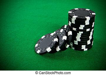negro, pedacitos del póker, pila