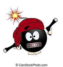 negro, pirata, illustration., bomba., caricatura, vector