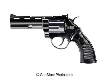 negro, revólver