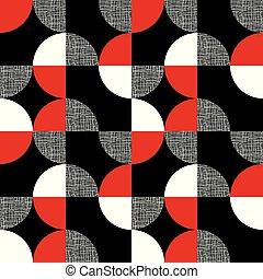 Negro, rojo, blanco patrón geométrico sin costura