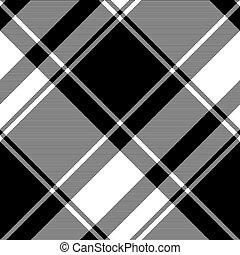negro, tartán, seamless, patrón, blanco