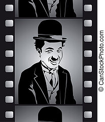 negro, tiro, película, blanco