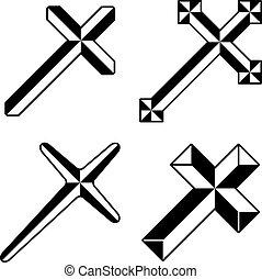 negro, vector, cristiano, cruces