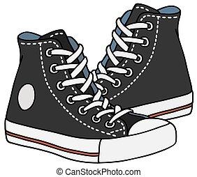 negro, zapatillas