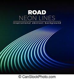 Neon alinea fondo con 80s estilo brillante giro de carretera
