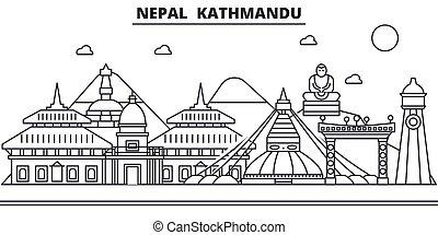 Nepal, arquitectura de Kathmandu ilustración en línea aérea. Vector lineal Cityscape con puntos de referencia famosos, vistas de la ciudad, iconos de diseño. Landscape wtih derrames editables