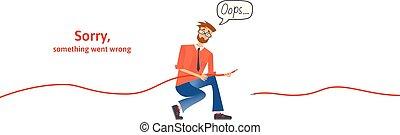 Nerdy con cable desconectado en sus manos. Mensaje de texto de advertencia, lo siento algo salió mal. Ups 404 página de error, plantilla vectorial para página web. Ilustración de vectores planos de color. Horizontal