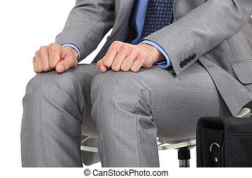 nervioso, hombre de negocios