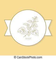 Nettle Medicina Planta etiqueta amarilla