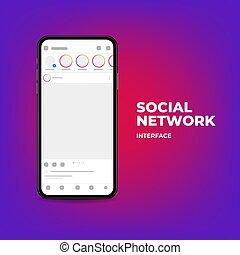 network., social, interfaz, smartphone