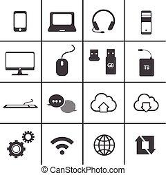Network y set de icono móvil