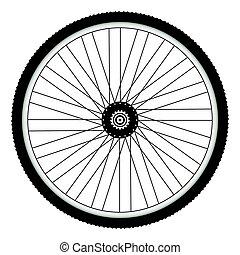 neumático, rueda, claveteado, trasero, bicicleta