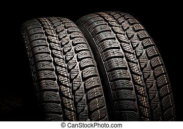 neumáticos, cierre, dos, arriba