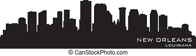 New orleans, louisiana Skyline. Detallado vector silueta