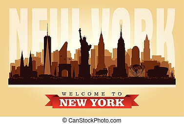 New York USA City Skyline vector silueta
