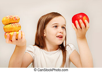 niña, alimento, elaboración, decisiones, joven, malsano, betwen, depicts, y, comida., sano, esto, foto