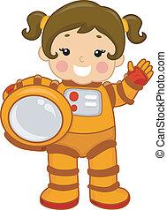 niña, astronauta