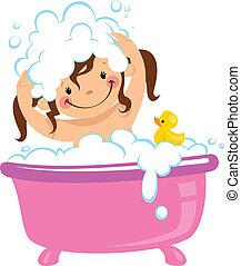 Niña bebé bañándose en bañera y lavando pelo