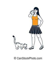 niña, bebida, blanco, leche, plano de fondo, gatos, ilustración