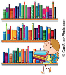 niña, biblioteca
