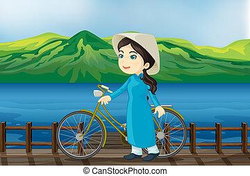 niña, bicicleta, banco