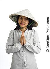 niña, bienvenida, expresión, asiático