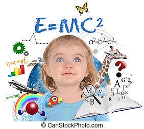 niña, blanco, educación, escuela, aprendizaje