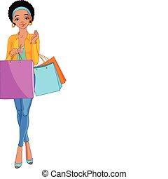 niña, bolsas, africano, compras