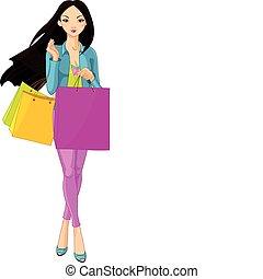 niña, bolsas, asiático, compras