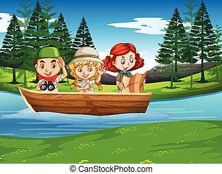 niña, campamento, naturaleza, niño, explorar