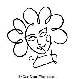 niña, cara, flower-shaped, hair., cabeza