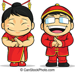 niña, caricatura, chino, y, niño