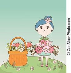 niña, caricatura, pelo, ramo, flores, flor