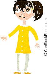 niña, caricatura, preocupado