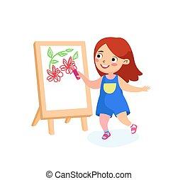 niña, día, concept., internacional, feliz, niñez, niño, o, paper., felicidad, vector, paz, escuela, pintura, caricatura, carácter, vacaciones, easel., niños, ilustración, dibujo, lona, espalda, flores