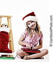 Niña en Navidad