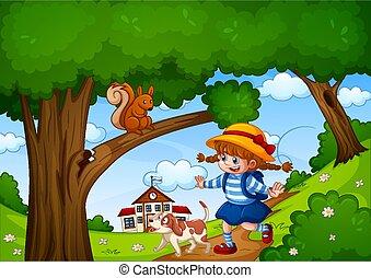 niña, escena, jardín, animal, naturaleza, lindo