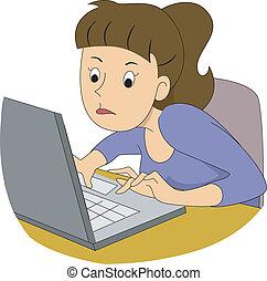 niña, escritor, rápido, mecanografía