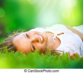 niña, field., felicidad, acostado, primavera