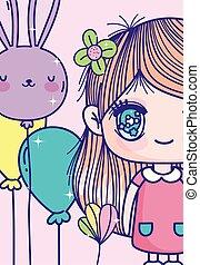 niña, flor, globos, anime, pelo, lindo