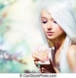 niña, flower., fantasía, primavera, rosa, hermoso