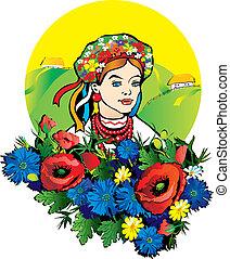 niña, flowers.