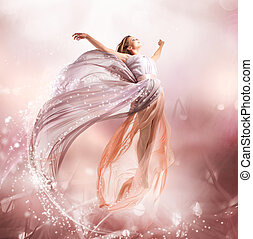 niña, flying., fairy., soplar, magia, vestido, hermoso