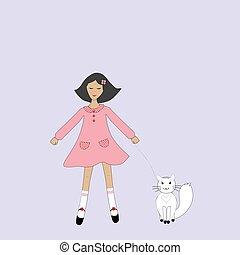 niña, gato, lindo, caricatura