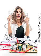niña, girl?holds, alambres, having?electric, choque, descubierto