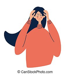 niña, headache., ilustración, enfermedad, o, blanco, work., énfasis, vector, cansancio, dolores de cabeza, nervioso, cabeza, ella, fondo., migraña, mano, tenencia, tensión