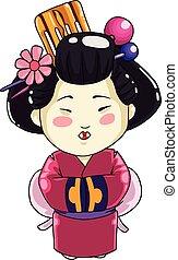 niña, ilustración, blanco, vestido tradicional, chino, vector, fondo.